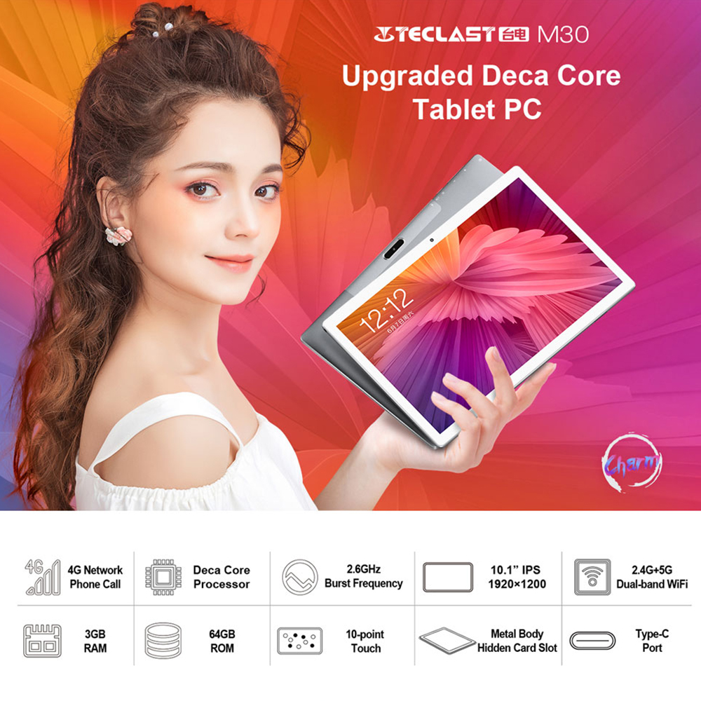 Teclast M30 10,1 дюймов 4G Android 8,0 MT6797X (X27) 1,4 ГГц Decore cpu 3 Гб ram 64 Гб rom 5.0MP + 2.0MP type-C телефонный звонок планшетный ПК