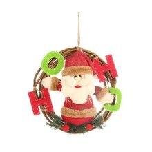 Christmas Tree Hanging Doll Pendants Wreath Ornaments Wall Door Decor Toy Rattan Garland Snowman Santa Festival Party Home