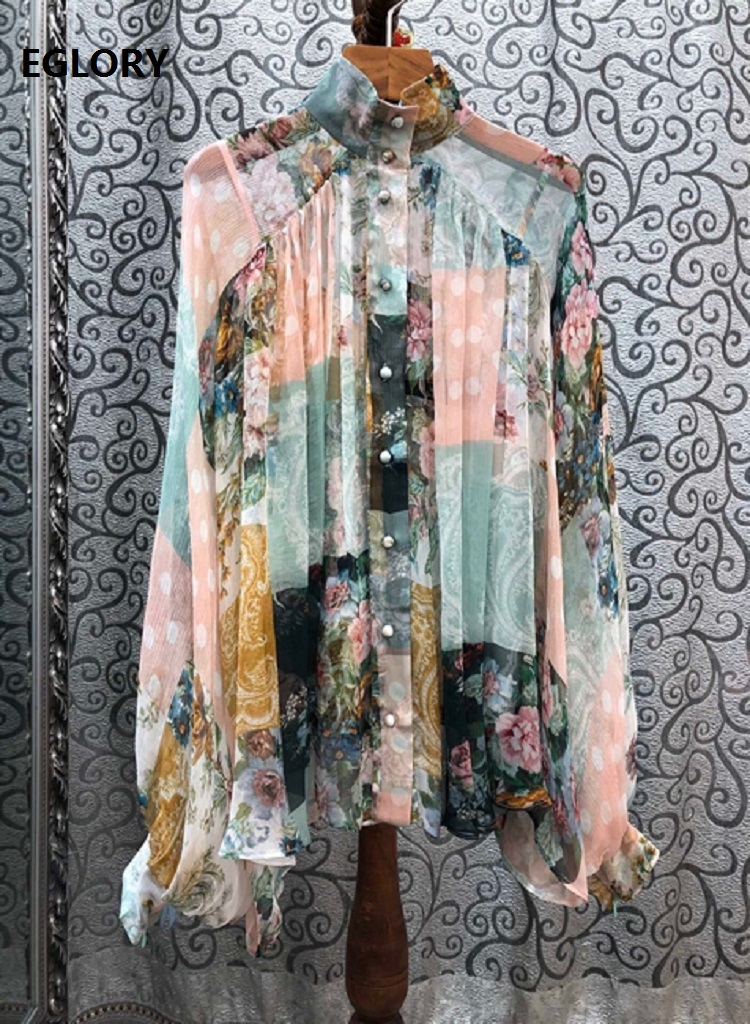 Top Quality Silk Blouses 2020 Spring Summer Plus Size Shirts Women Vintage Flower Print Tunic Buttons Deco Long Sleeve Shirts