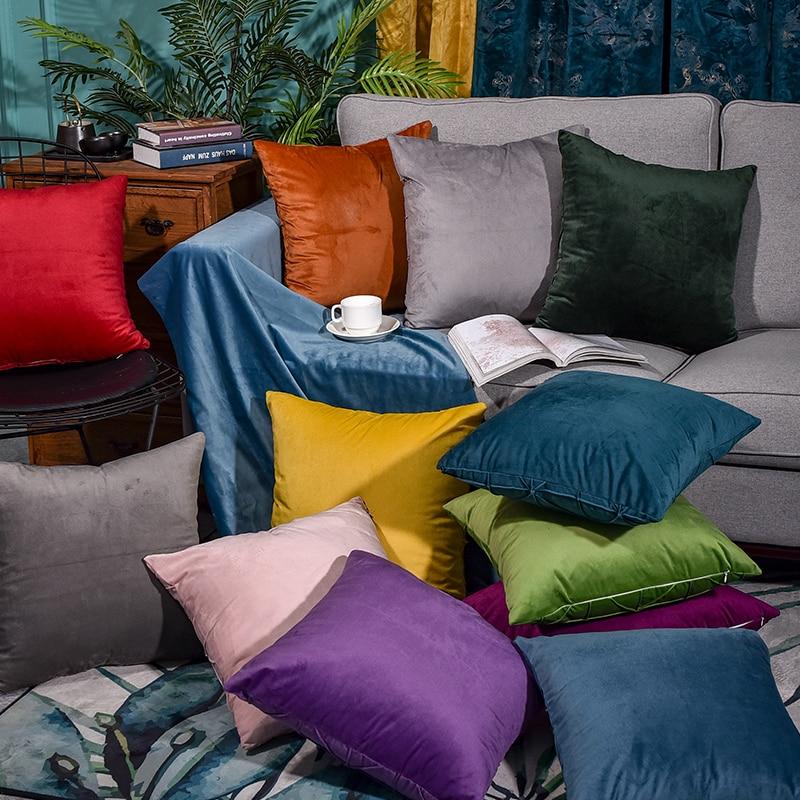 Funda de almohada, funda de cojín de terciopelo para sala de estar, conjunto de cojín, funda de almohada de color sólido, funda de cojín, funda de almohada
