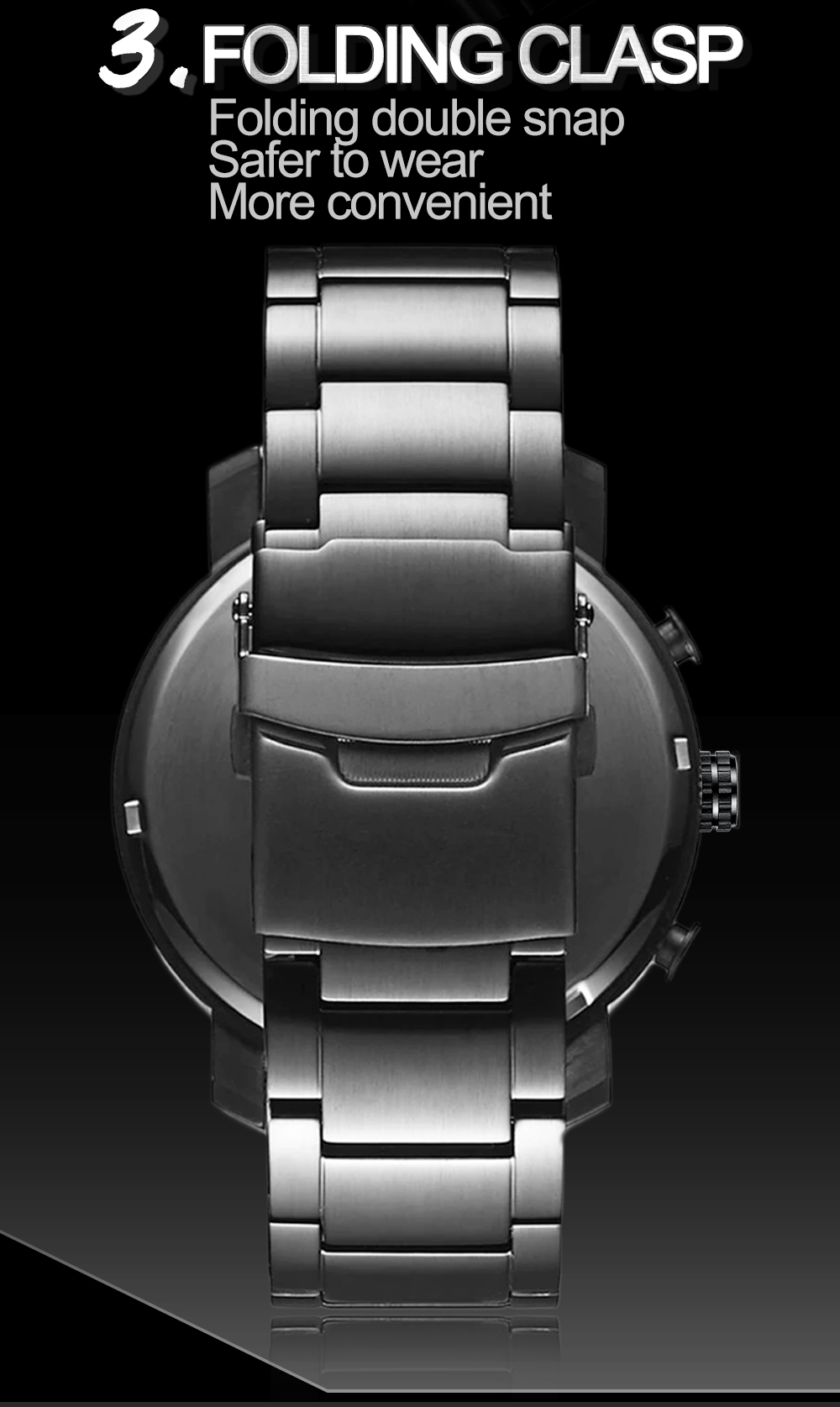 Hef179b45a4e5421480331ba7facb7d33U DropShipping Big Dial 45mm Full Black Stainless Steel Multi-function Calendar Men's Top Brand Luxury Watches Relogio Masculino