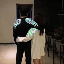 Camiseta con estampado reflectante de alas para hombre, ropa de calle, camiseta japonesa Harajuku, camisetas de manga larga, camiseta de Hip-Hop para hombre