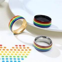 Женское и мужское обручальное кольцо с линиями Mostyle, кольцо с линиями радуги из нержавеющей стали, ювелирное изделие