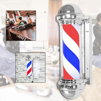 Salon Barber Shop Pole Rotating Lighting Red White Blue Stripe Rotating LED Light Stripes Sign Wall Hanging LED Downlights