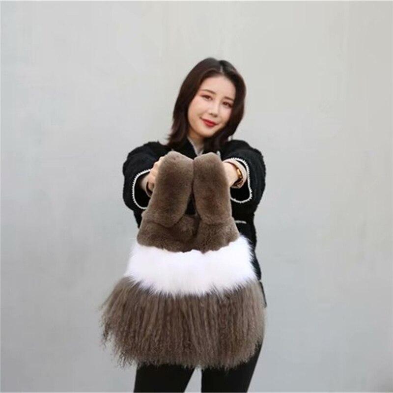 IANLAN Casual Womens Mongolian Sheep Fur Handbags Fluffy Fox Fur Tote Bags Real Rex Rabbit Fur Shopping Bags IL00569