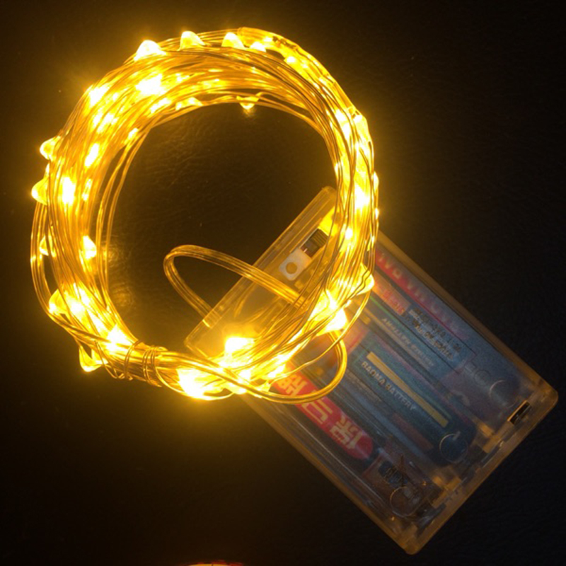 AA Battery Powered LED String Fairy LED Christmas Light String Silver Line LED String For Wedding Holiday Party Decoration