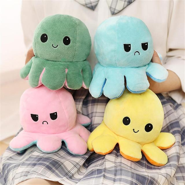 Hot Sale Cute Soft Simulation Reversible Pulpo Doll Kids Christmas Gift Double-sided Flip Plush Toy Child Birthday present