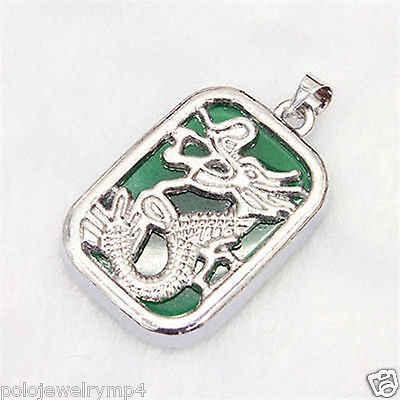 Atacado> g! hg! h> nova pedra verde banhado a prata dragão totem pingente colar + corrente