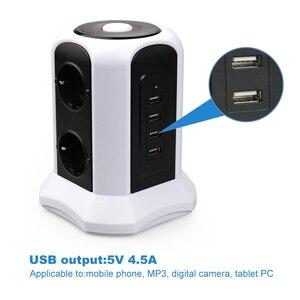 Image 2 - Tháp Điện Dải Dọc Tăng Bảo Vệ 6 Cách EU Ổ Cắm Ổ Cắm USB Công Tắc Quá Tải Tấm Bảo Vệ Nối Dài 2M dây