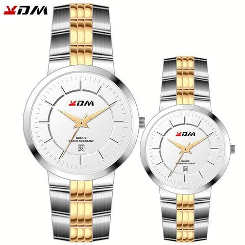 Presente de Luxo Masculino e Femme Horloges à Prova Rei e Rainha Casal Relógios Amantes Melhor Dwaterproof Água Cheio Aço Simples Quente Reloj Pareja Par