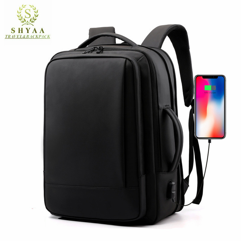 SHYAA Backpack Large Capacity Expansion Multi-function USB Charging Waterproof Breathable Business Men's Computer Travel Bag