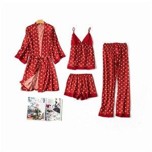 Image 3 - Daeyard 여성 잠옷 패션 폴카 도트 실크 Pijamas 4Pcs 가운 잠옷 섹시한 캐미 반바지 잠옷 세트 가을 Nighty Home Wear