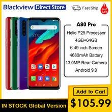 Versão global blackview a80 pro 4gb + 64gb 4680mah câmera traseira do quadrilátero do telefone móvel 6.49 smartphone waterdrop celular 4g smartphone celular celular celular