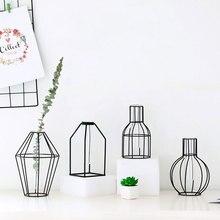 Flowerpot Wrought Iron Vase Glass Test Tube Office 4 Style Balcony Geometry Desktop Ornament Home Decor Flower Stand Creative