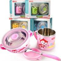 피셔-가격 어린이 칼 세트 아기 스테인레스 스틸 먹는 그릇 숟가락 안티-scalding 컵 뚜껑 보완 식품 그릇