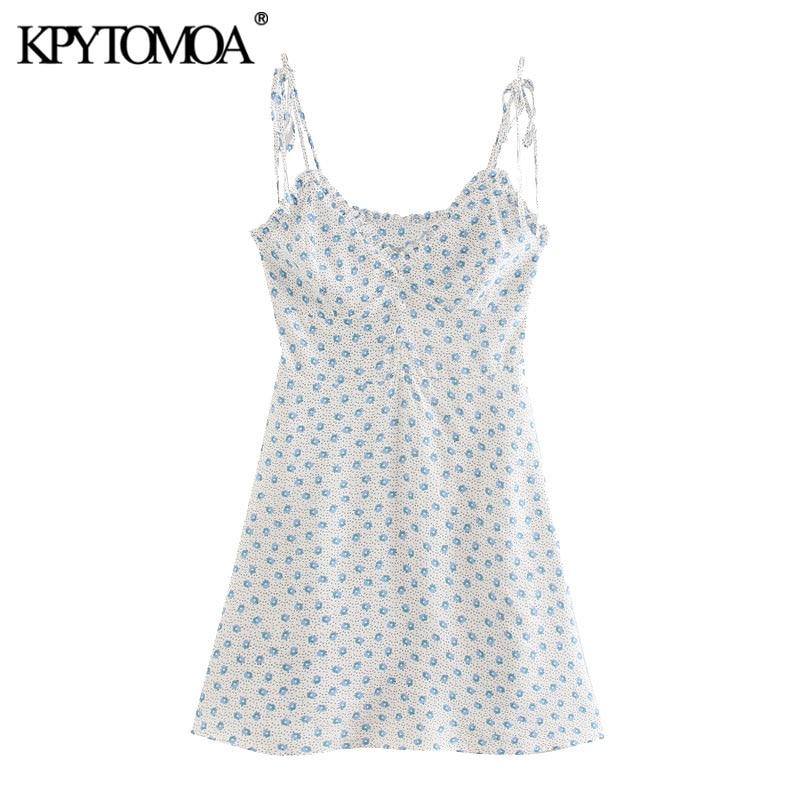 KPYTOMOA Women 2020 Chic Fashion Floral Print Ruffled Mini Dress Vintage Side Zipper Thin Tied Straps Female Dresses Vestidos