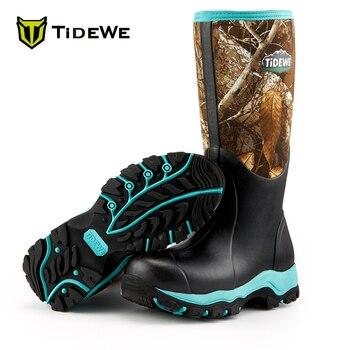 TideWe aislado impermeable Durable 38cm botas de caza de las mujeres Realtree Edge Camo 6mm neopreno y botas para el aire libre de goma para las mujeres