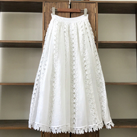Butterfly Embroidery Long Skirts 2020 Spring Summer Runway Fashion Top Quality Hollow Out White Skirts