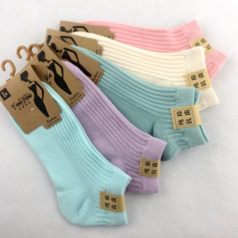 5 Pairs Cotton Double Knitted Ladies Boat Socks Women Mesh Sports Breathable Sweat-absorbent Stealth Socks Female 2020 Spring