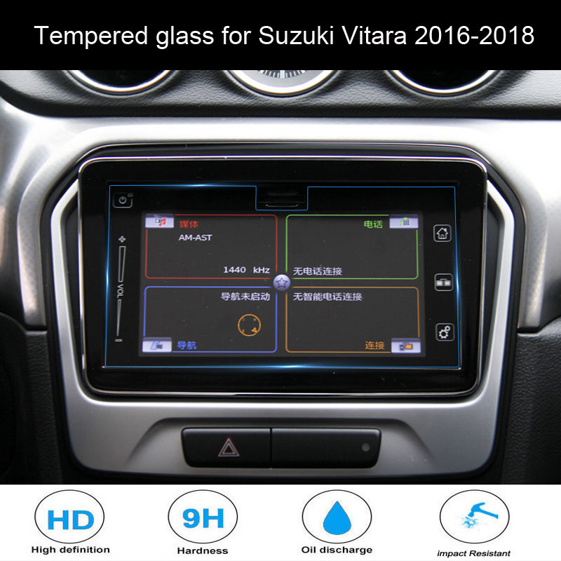 For Suzuki Vitara 2016-2018 Car Styling Navigation Tempered Glass Screen Protector Steel Portective Auto Accessories