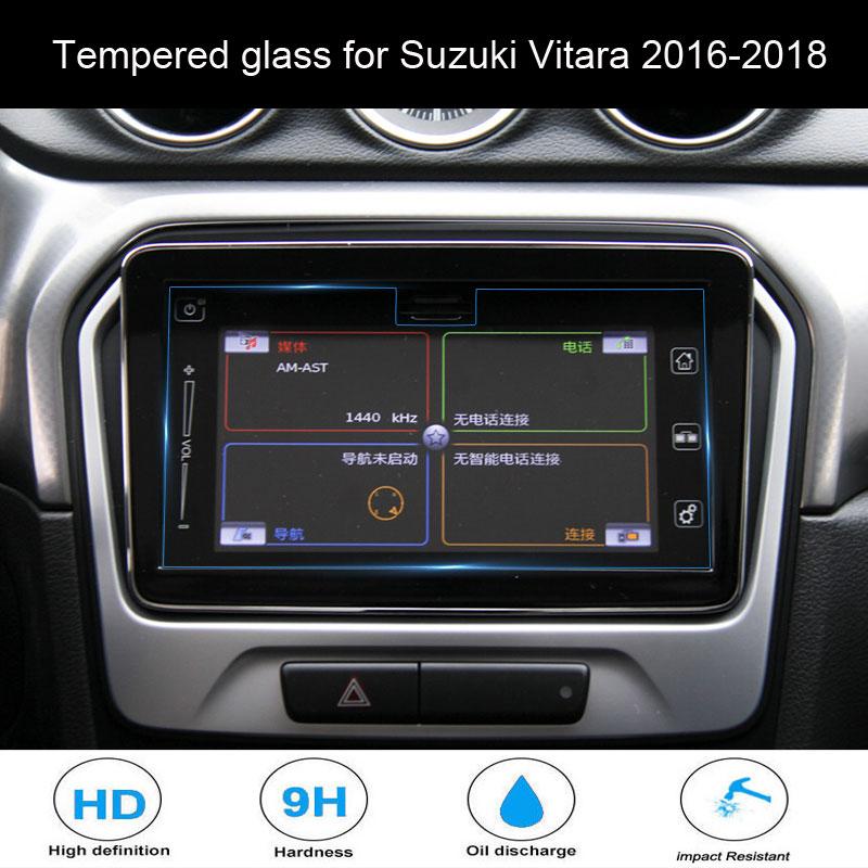 Suzuki Vitara 2016-2018 araba styling navigasyon temperli cam ekran koruyucu çelik koruyucu oto aksesuarları