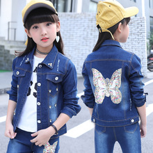 Children Clothing Set for Girls Outfits Denim Jacket + Jeans 2pcs Spring Autumn Costume Teenage Kids Suit for 4-12 Years hot sale fall boutique outfits embroidered toddler teenage girls clothing set denim autumn 2t to size 10 13 years