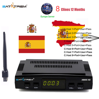Satxtrem X800S HD Ccam odbiornik satelitarny DVB-S2 cyfrowy 1080P Receptor Azamerica hiszpania odbiornik TV Turner z MT7601 Wifi tanie i dobre opinie DIGITAL 1 x USB 2 0 High Speed Host LNB IN*1 HD OUT USB AV Power supply HDMI(up to 1080P) output DVB-S S2 Complian Support