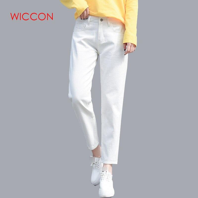 Хлопковые белые джинсы для женщин с высокой талией, гарем, джинсы для мам размера плюс, небесно-Голубые штаны, черные модные женские джинсы б...