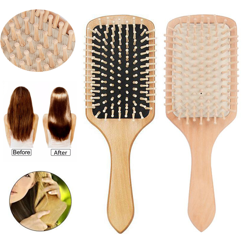 1pc Comb Hair Care Brush Massage Wooden Spa Massage Comb 2 Color Antistatic Hair Comb Massage Head Promote Blood Circulation