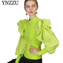 Fluorescent green Puff sleeve Women Sweater 2019 New arrival Turtleneck Chic pullover tops Slim sexy Knitted jumper YNZZU YT712