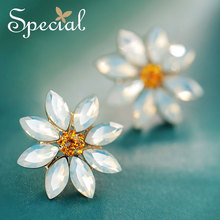 Special Fashion Natural Opal Stud Earrings Romantic Flower Ear Pins Clips Luxury Rhinestones Jewelry Gifts for Women S1758E special new fashion opal maxi necklace romantic waterdrop necklaces