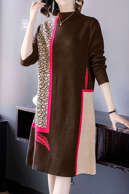 Fashion show thin knitting dress long sleeves loose female in the new winter long knee-length hair dress 6