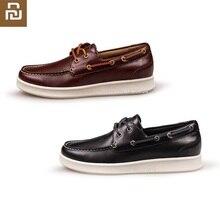 Youpin freetie tênis masculino, sapatos de couro de vaca, casual, resistente, para uso ao ar livre