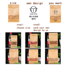 Kraft paper LOGO printing 1pcs gift Eight side bags High Quality Paper Coffee Bean Bags Zipper Pouch Heat Seal Retail