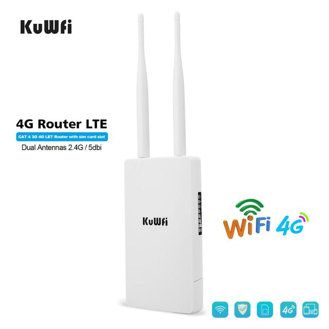 KuWFi Waterproof Outdoor 4G CPE Router 150Mbps CAT4 LTE Routers 3G/4G SIM Card WiFi Router for IP Camera/Outside WiFi Coverage 1
