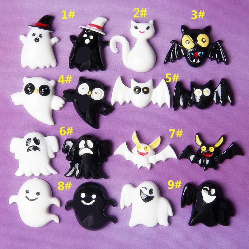 20pcs Black White Ghost Owl Bat Halloween Flat Back Resin Cabochons DIY Scrapbook Embellishment Craft Decoration Parts Wholesale