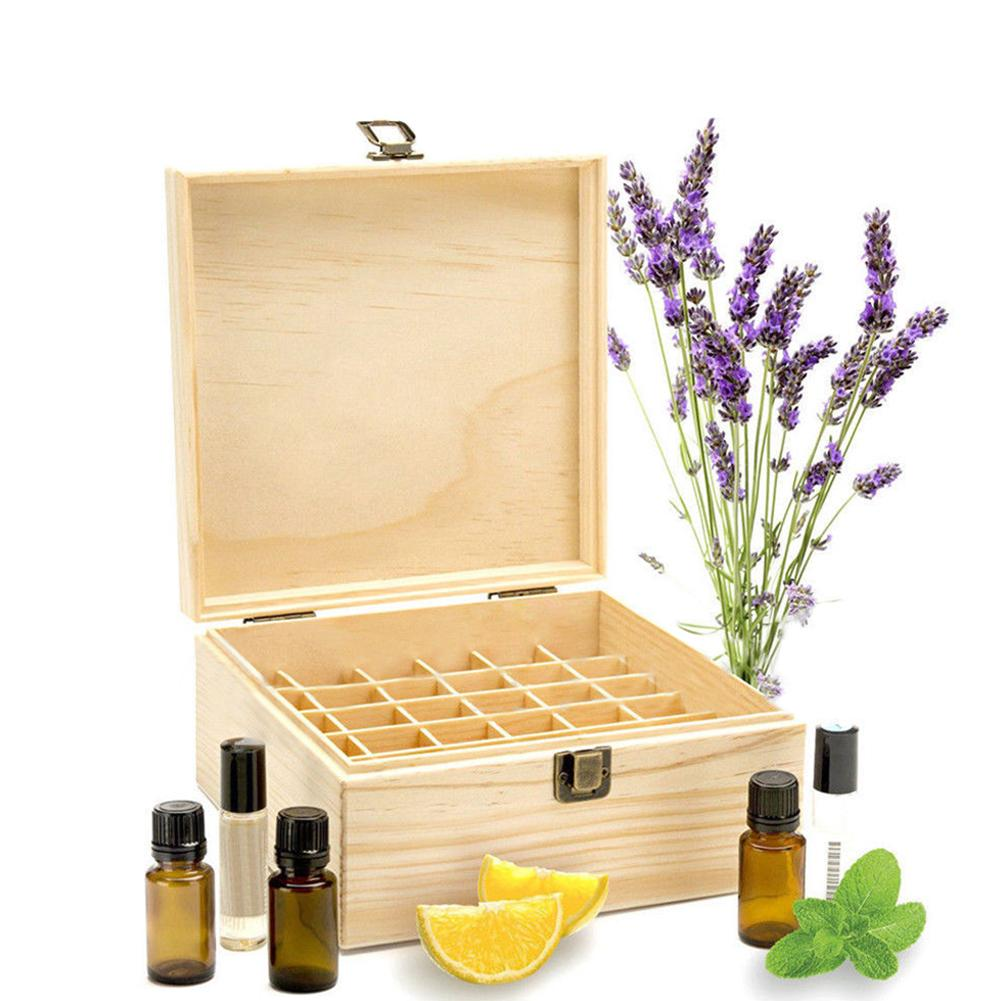 25 Slots Essential Oil Bottle Display Wooden Storage Box Container Organizer  Can Keep Your Essential Oil Collection Organized