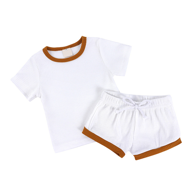 2Pcs Baby Clothes Summer Toddler Infant Girls Boys Clothes Cotton Casual Short Sleeve Tops T-shirt+Shorts Baby Outfit Set 6