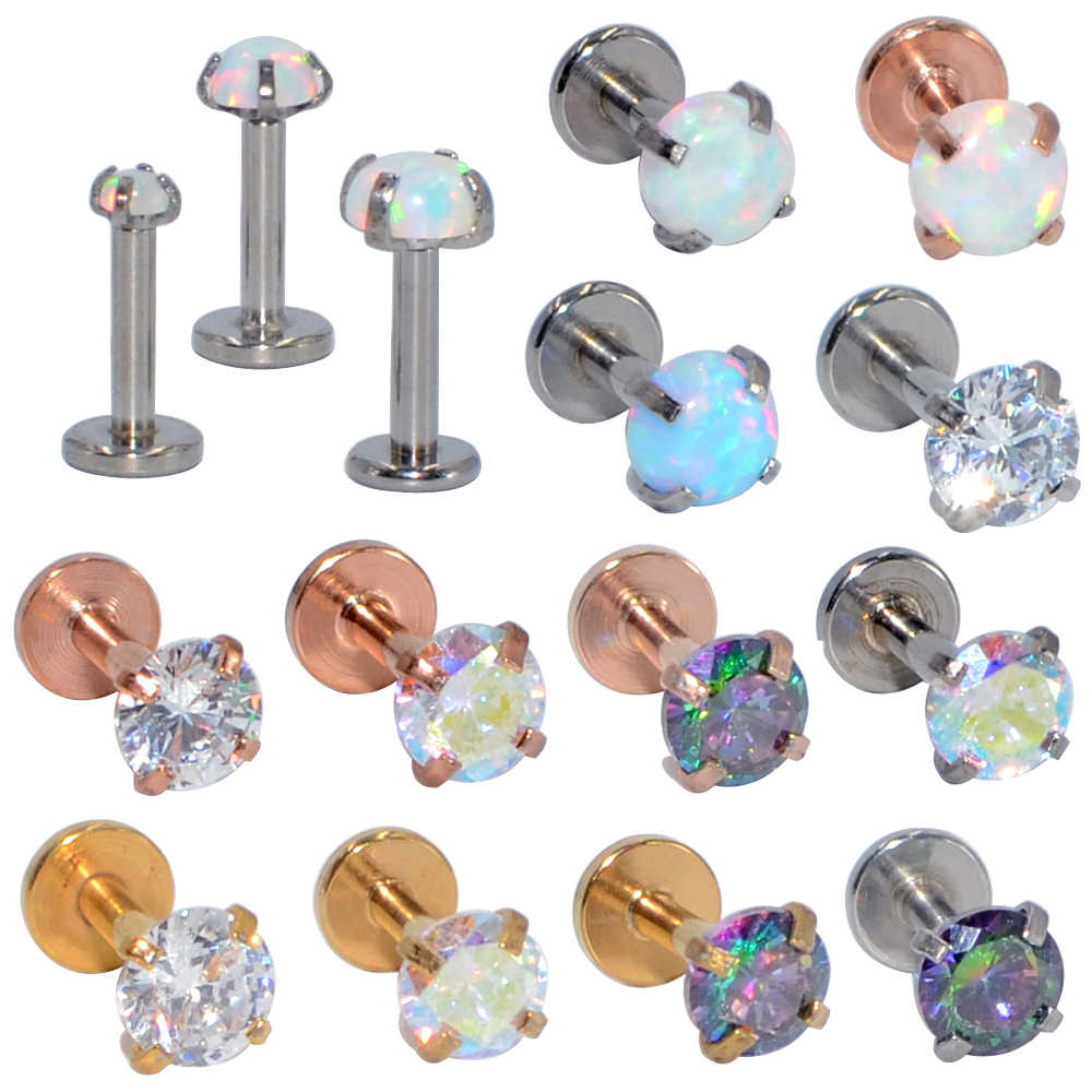 1PC Internally Threaded  Prong Round Opal Zircon with flat bottom Labret  Stud Ear Tragus Cartilage Earring Lip Ring Piercing