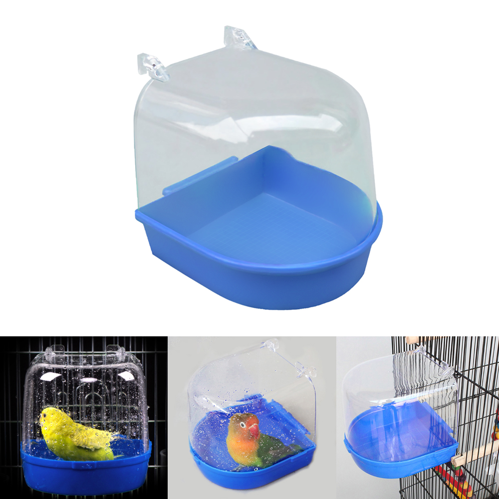 1Pc Plastic Bird Water Bath Box Bathtub Parrot For Parakeet Lovebird Bird  Pet Cage Hanging Bowl Parakeet Birdbath