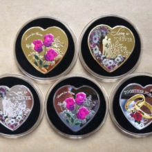 5pcs/lot Love Commemorative Coins Silver gold Heart Red Rose Shape Wedding Decoration Valentine Gift