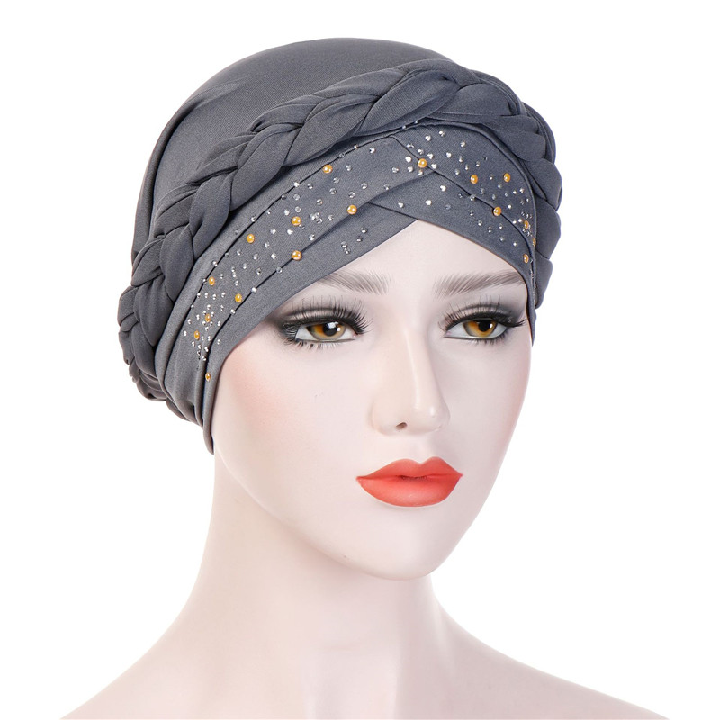 Trendy Muslim Women Inner Caps For Hijab India Wrap Head Turban Bonnet With Drill Solid Color Hijab Underscarf Caps Turbante