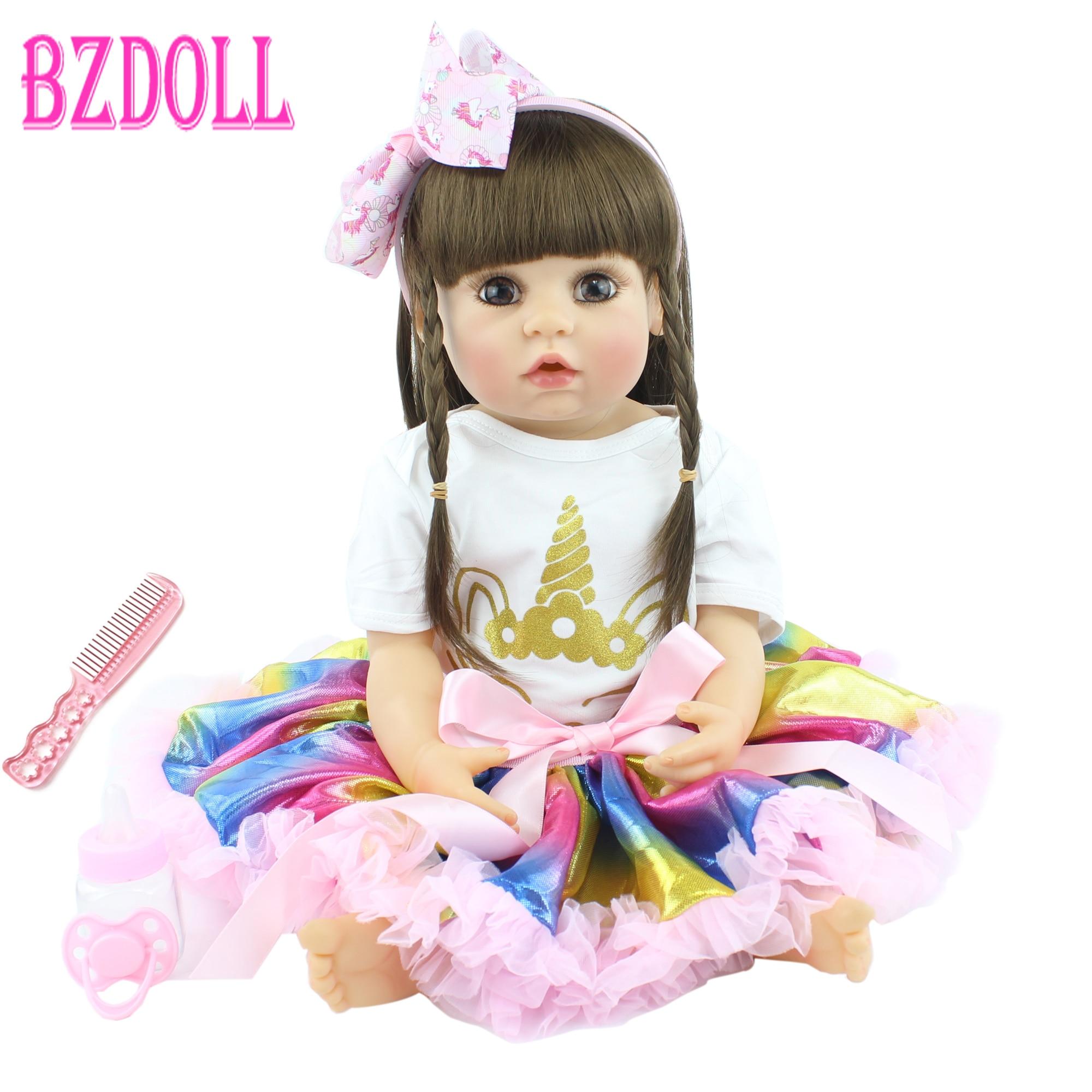Muñeca de juguete Reborn de silicona completa, 55cm, vestido para bebés recién nacidos, Princesa, regalo de cumpleaños, juguete para dormir