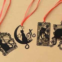 2 sztuk DIY śliczne Kawaii czarny kot metalowe zakładki do książki papierowe kreatywne przedmioty piękny koreański biurowe prezent pakiet Student