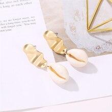 HOCOLE Sea Shell Drop Dangle Earrings For Women 2019 Brincos Bohemian Gold Metal Shell Earring Statement Wedding Party Jewelry недорого
