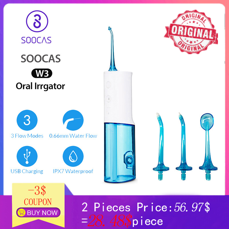 SOOCAS W3 Oral Irrigator Portable Dental Water Flosser Jet Rechargeable Waterproof Water Toothpick Cleaner for Cleaning Teeth