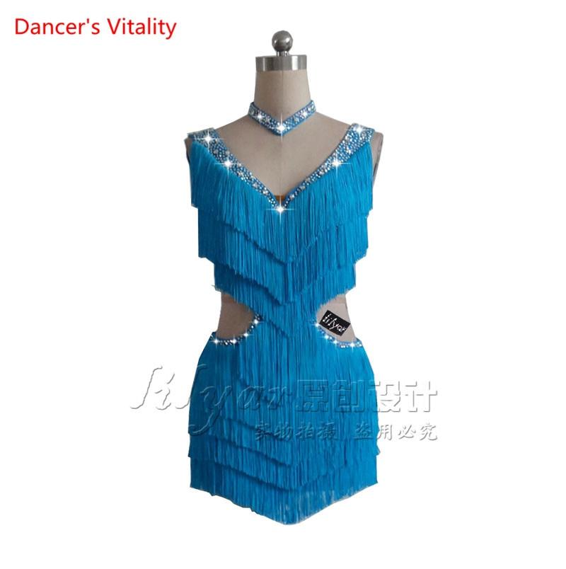 Custom Made Latin Dance Competition Performance Suit Sleeveless Tassel Dance Dress Lake Blue Rhinestone V-neck