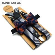 Подтяжки rainie sean мужские комплект с бантом винтажные темно