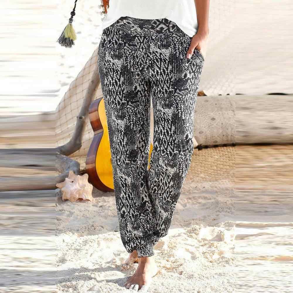 ผู้หญิงกางเกงชายหาดกางเกงสูงเอวพิมพ์ง่ายกางเกงผู้หญิงกางเกงยาว Sandy กางเกงยืดหยุ่นกางเกง pantalon femme PF3M