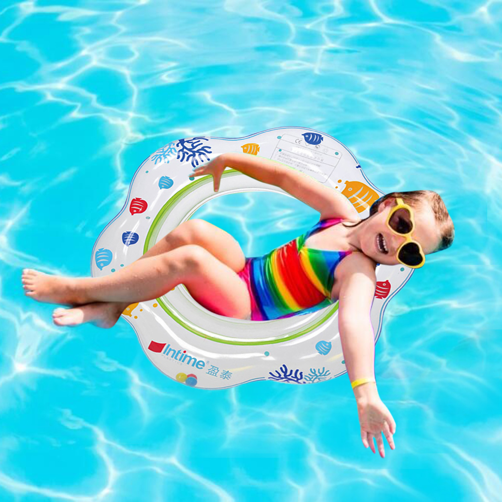 Cartoon Baby Swimming Ring for Kids PVC Inflatable Swimming Ring Pool Floats Kids Float Seat Bo-at Pool Ring 1-3 year 52cm